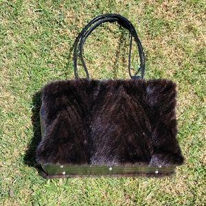 Paolo Masi Fur/Leather Croc embossed Shoulder Bag